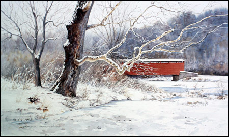 The Quiet Season -watercolor of snowy landscape, covered bridge by Gerry McKeown