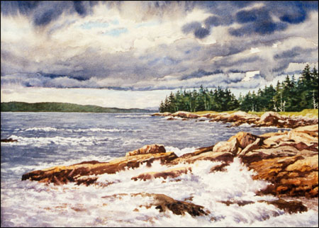 Storm Clouds - Schoodic : original watercolor of Maine coast by Gerry McKeown
