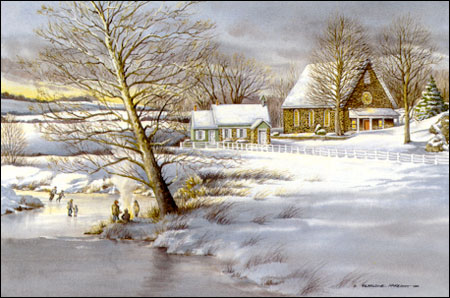 Winter at Rock Church - painting of Maryland countryside by Geraldine McKeown