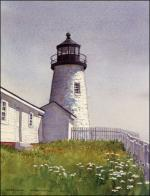Summer Sentinel lighthouse watercolor painting by Geraldine McKeown