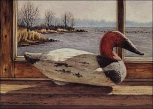 Off The Flats - Madison Mitchell Canvasback Decoy painting by Geraldine McKeown