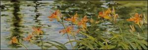 Creekside Daylilies original watercolor painting by Geraldine McKeown