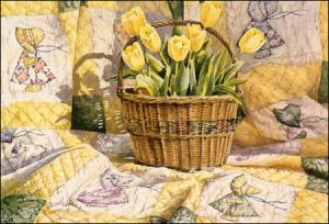 Springtime and SunBonnet Sue - a cheerful painting by Geraldine McKeown